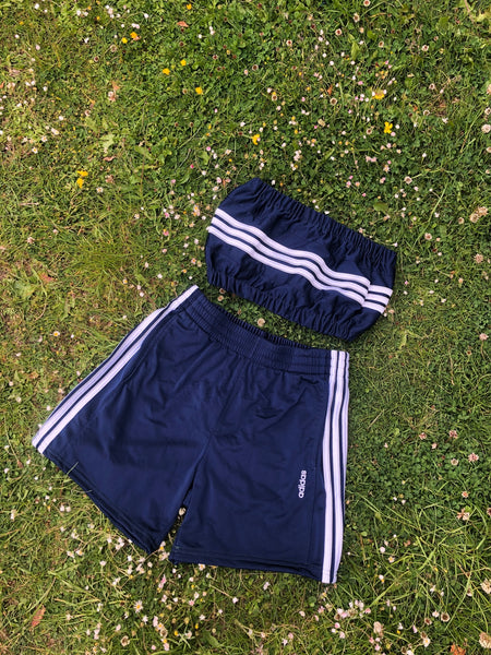 Vintage Reworked Adidas 3 Stripes Tracksuit Tube Top & Shorts Two Piece Set / Co-Ord Navy Blue & White