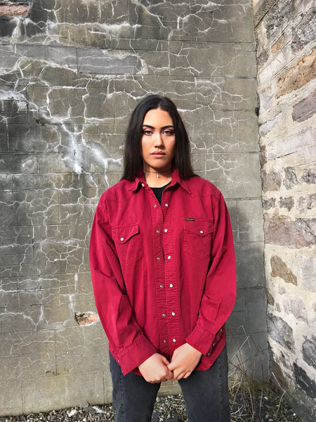 Vintage Wrangler Unisex Denim Baggy Oversized Shirt Red