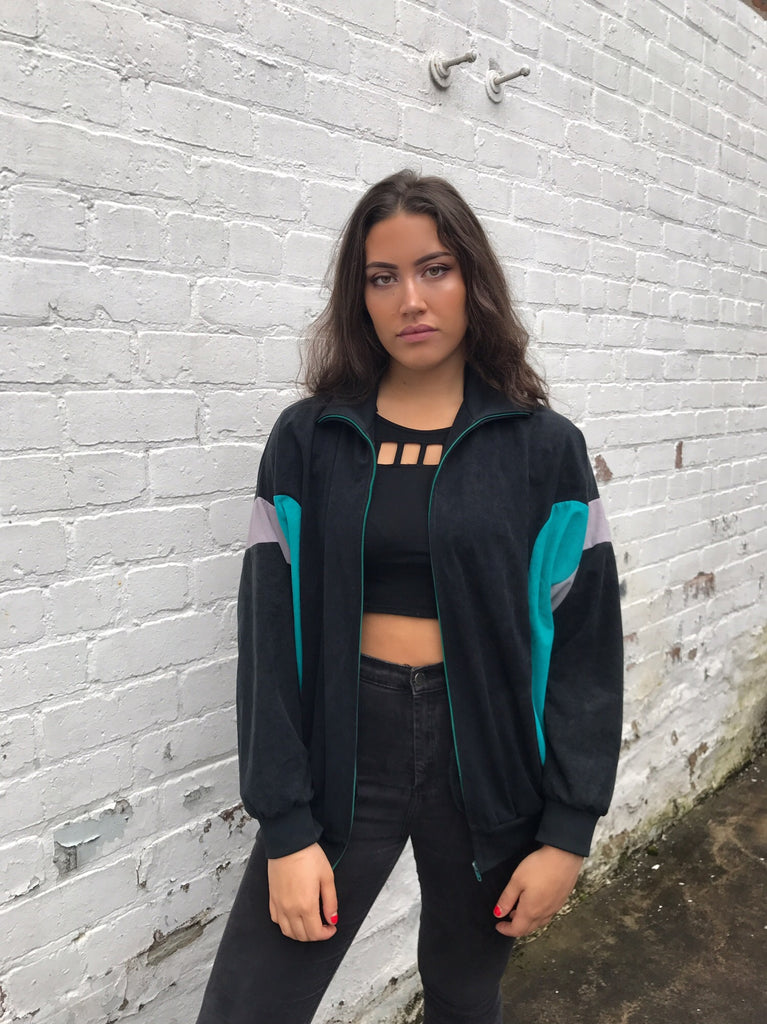 Vintage Unisex Retro Suede Oversized Windbreaker Bomber Shell Jacket Black
