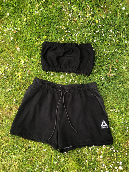 Vintage Reworked Reebok Tracksuit Tube Top & Shorts Two Piece Set / Co-Ord Black