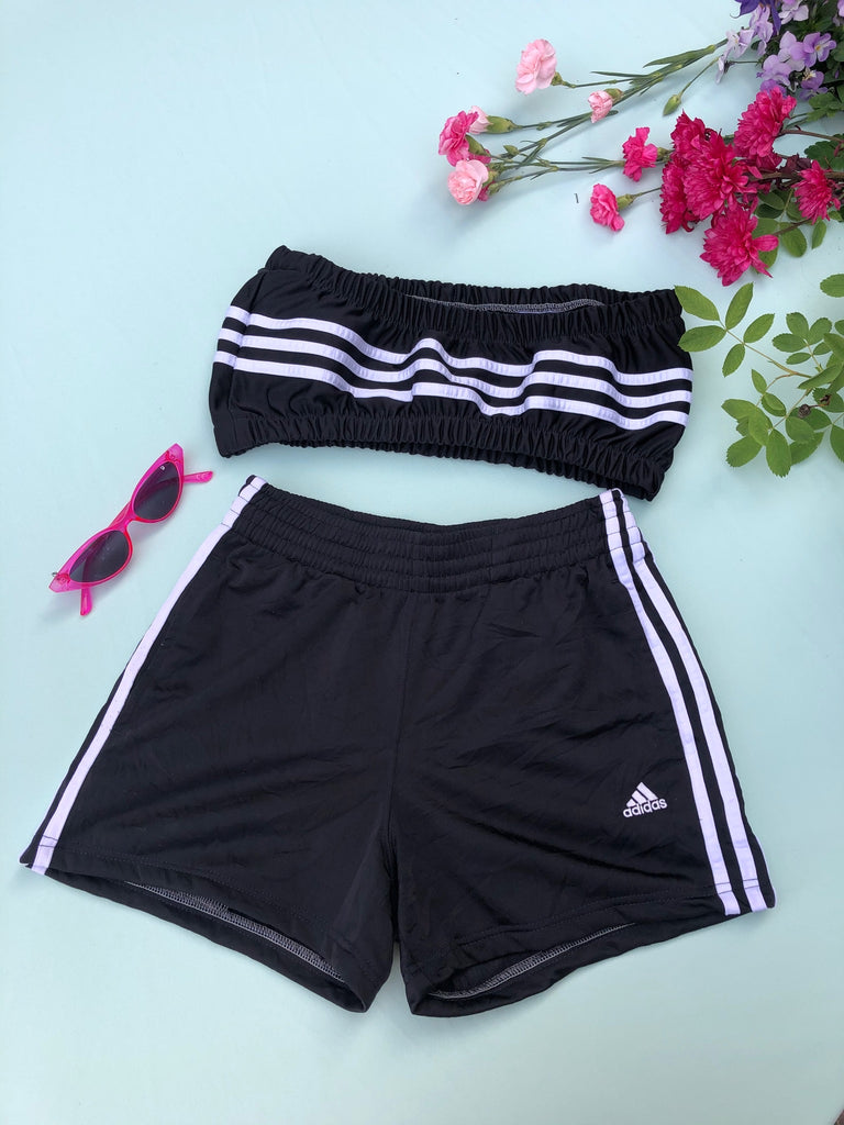 Vintage Reworked Adidas 3-Stripes Logo Tracksuit Tube Top & Shorts Two Piece Set Black & White