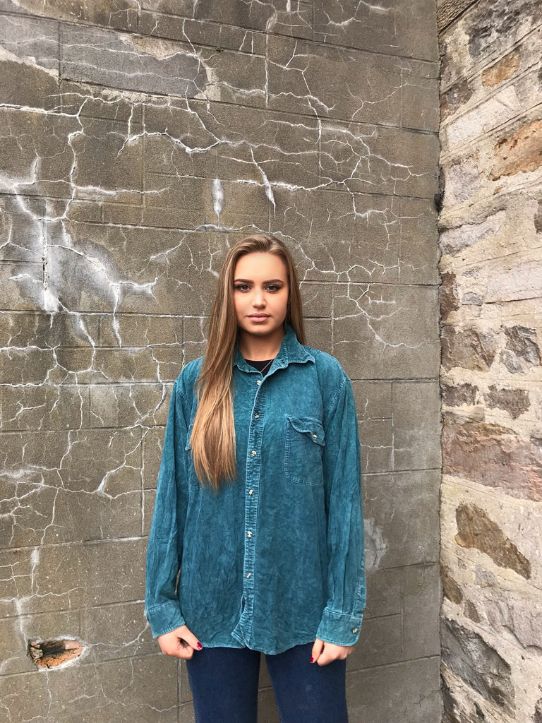 Vintage 90s Cord / Corduroy Unisex Ribbed Oversized Shirt Teal