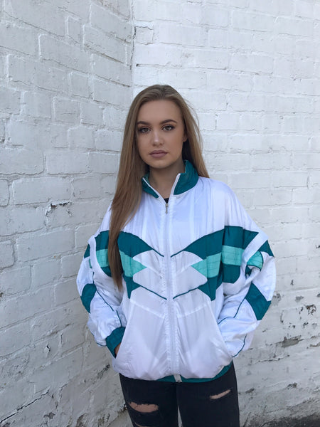 Vintage Retro Windbreaker Unisex Shell Jacket Blue & White