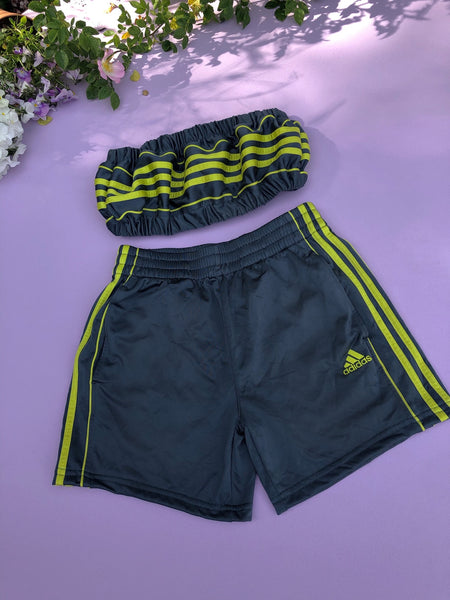 Vintage Reworked Adidas 3-Stripes Tracksuit Tube Top & Shorts Two Piece Set Grey & Lime Green