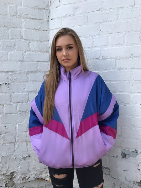 Vintage Unisex Windbreaker Shell Puffer Jacket Purple