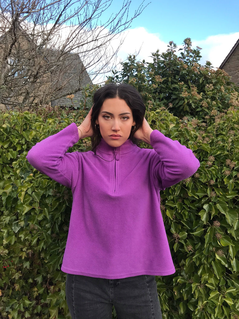 Vintage Unisex 1/4 Zip Fleece Jumper Pullover Purple