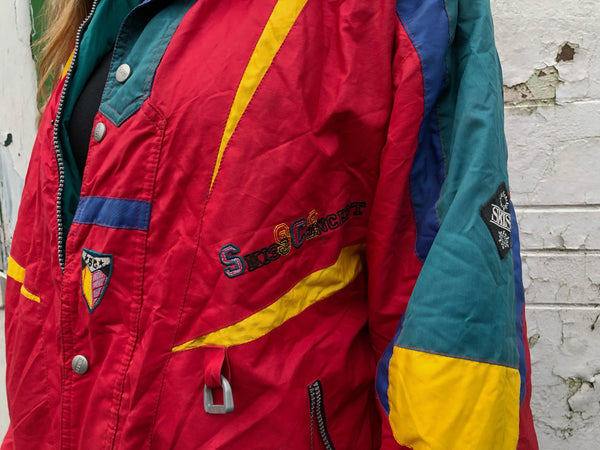Vintage Unisex Retro Colourful Oversized Windbreaker Padded Festival 90s Shell Ski Jacket