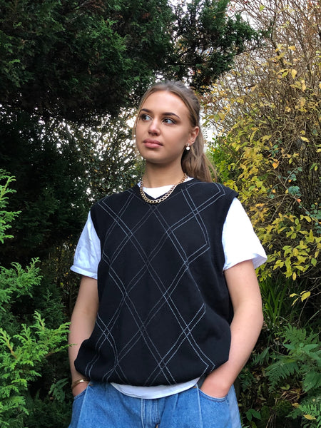 Vintage Patterned Sleeveless Oversized Knitted Vest / Sweater Vest Black