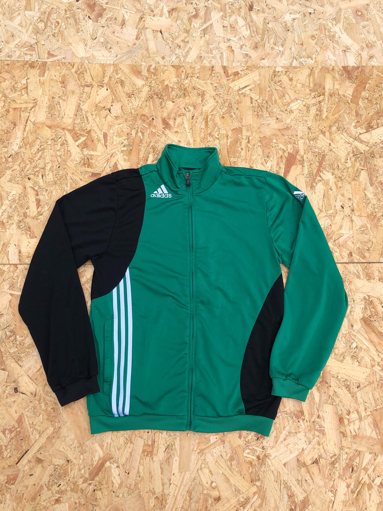 Adidas 3-Stripes Vintage Unisex Bomber Track Jacket / Tracksuit Top Green & Black