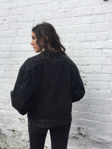 Vintage Lee Oversized Unisex Thick Denim Jacket Black
