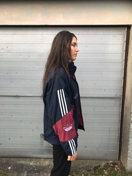 Adidas Originals 3-Stripes Vintage Unisex Bomber / Track / Shell Jacket / Tracksuit Top Navy & Burgundy
