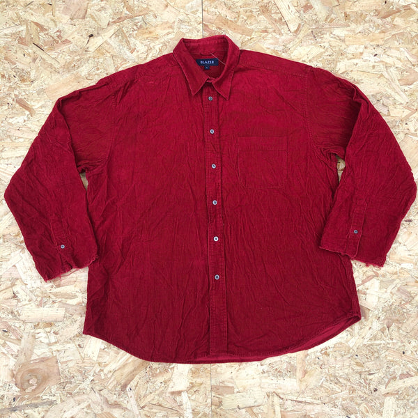 Vintage 90s Cord / Corduroy Unisex Ribbed Oversized Shirt Red