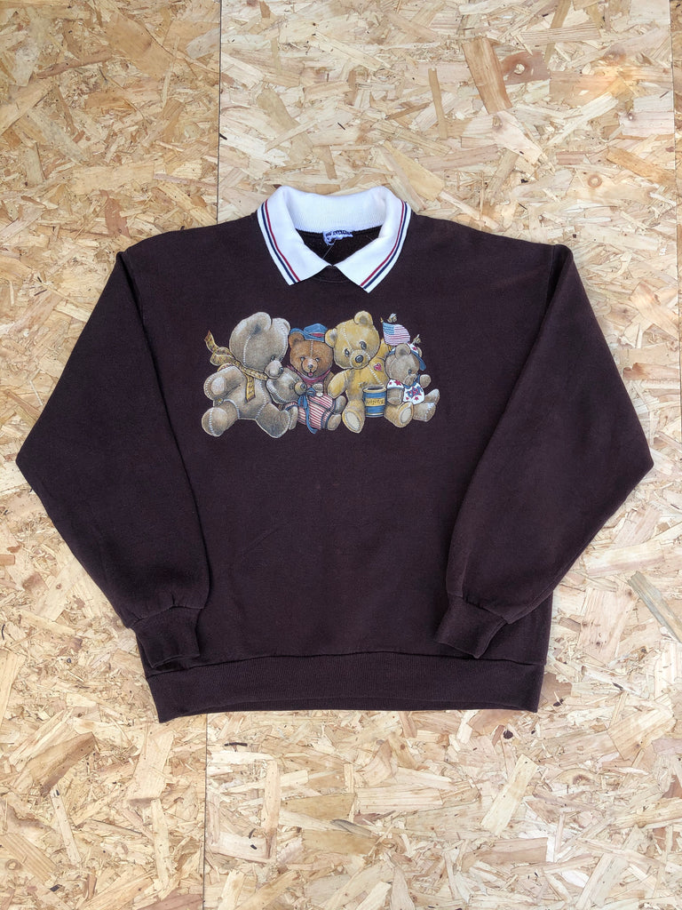 Vintage Collared Teddy Bear USA Graphic Print 90s Oversized Sweatshirt / Jumper / Sweater Chocolate  Brown