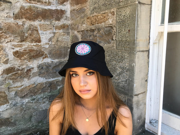 Love Route Embroidered Unisex Bucket Hat Black
