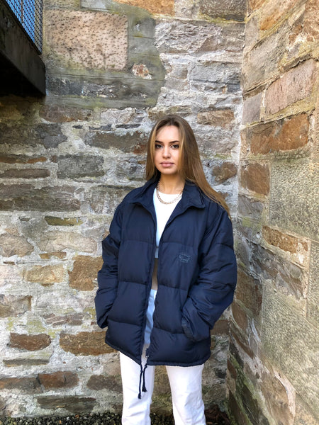 Vintage Unisex Oversized Padded Puffer Jacket Navy Blue