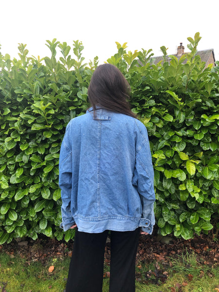 Rare 90s Vintage Retro Oversized Unisex Blue Denim Jacket