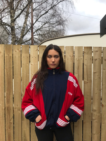 Vintage Unisex Retro Oversized Windbreaker Bomber Track Shell Jacket Navy & Red
