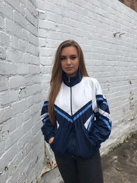 Vintage Unisex Windbreaker Shell Track Jacket White & Blue