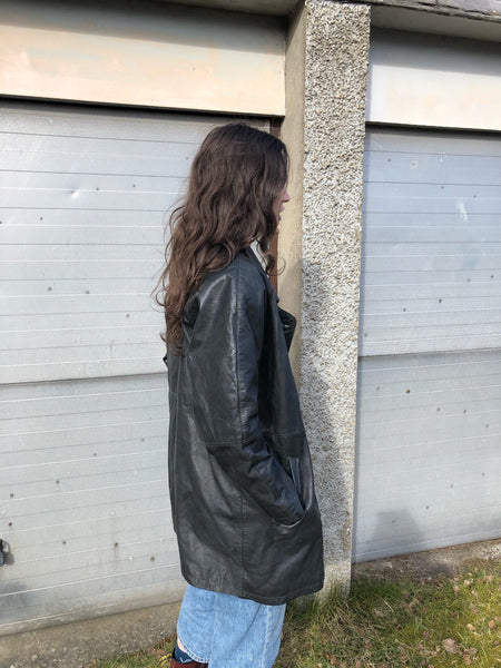 Vintage Oversized 90s Biker Genuine Leather Long Blazer Jacket Black