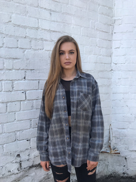 Unisex Vintage Checked Oversized 90's Flannel Shirt Grey
