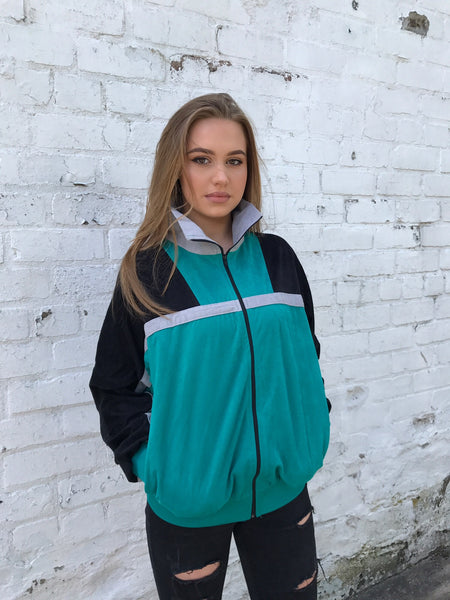 Vintage Unisex Retro Oversized Windbreaker Bomber Shell Jacket Turquoise, Black & Grey