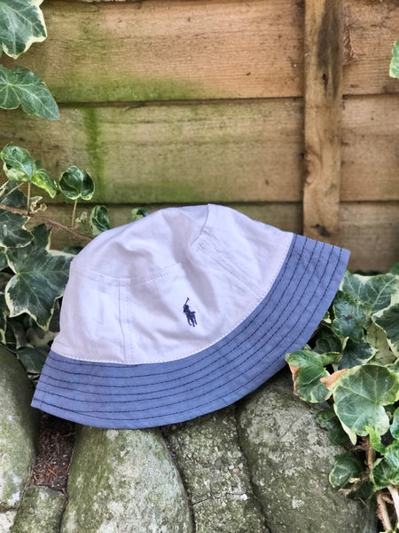 Vintage Reworked Ralph Lauren Recycled Shirt Bucket Hat - White & Blue
