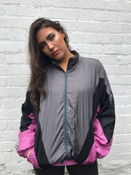 Vintage Unisex Windbreaker Oversized Shell Jacket Pink & Grey