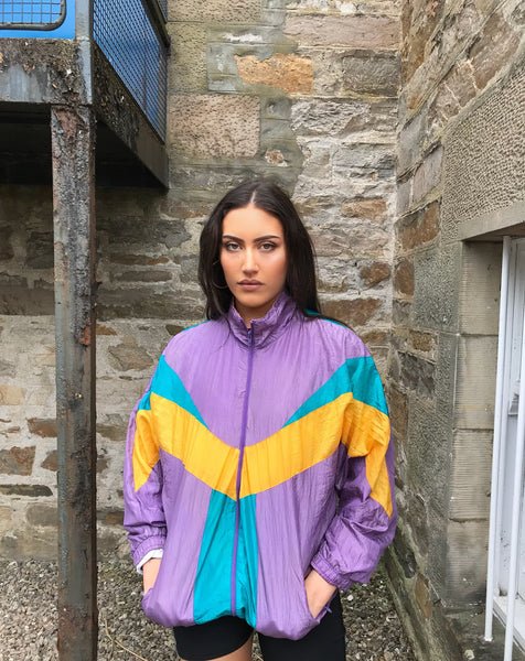 Vintage Unisex Oversized Colourful Windbreaker Wavy Festival Shell Jacket