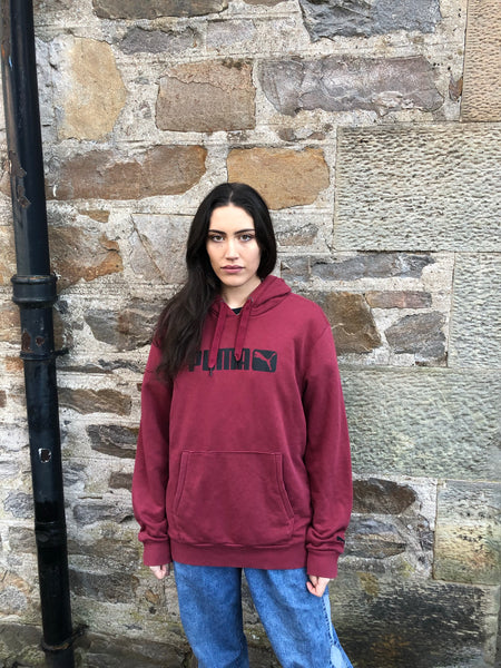 Vintage Puma Unisex Hooded Sweatshirt / Jumper / Sweater / Hoodie Burgundy