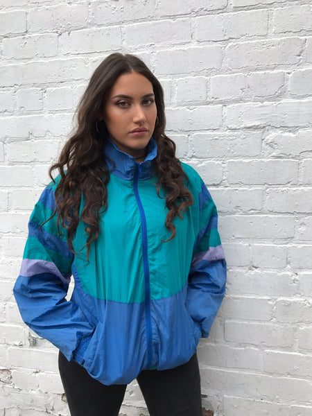 Vintage Retro Oversized Unisex Windbreaker Shell Jacket Blue