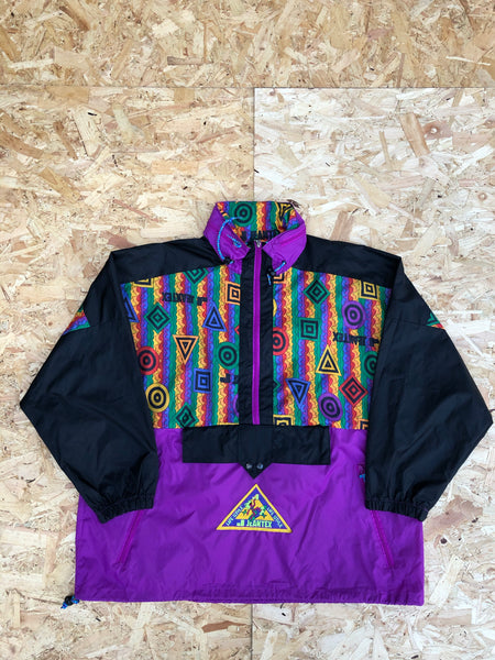 Vintage Pullover || Half Zip || 1/4 Zip || Quarter Zip Graphic Print Retro Colourful Oversized Windbreaker Shell Jacket Purple