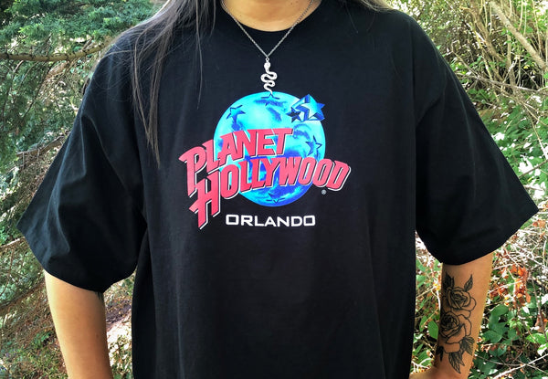 Vintage Planet Hollywood Orlando Graphic Oversized T Shirt / Tee Black