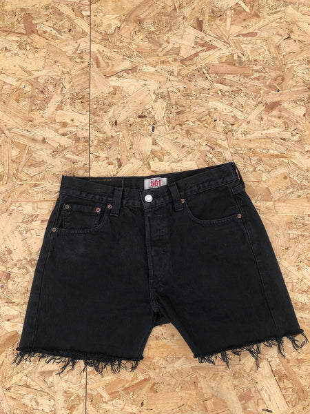 Levi's 501 Vintage High Waisted Denim Frayed Shorts Black