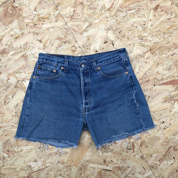 Levi's 501 Vintage High Waisted Denim Frayed Shorts Blue