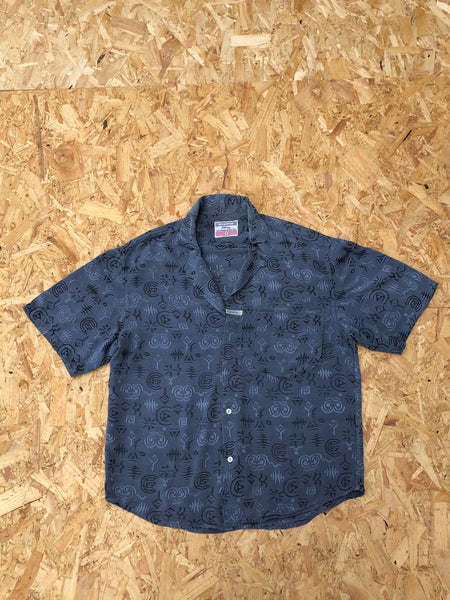 Vintage Short Sleeve Unisex Silky Jazzy Patterned Crazy Print Shirt Blue