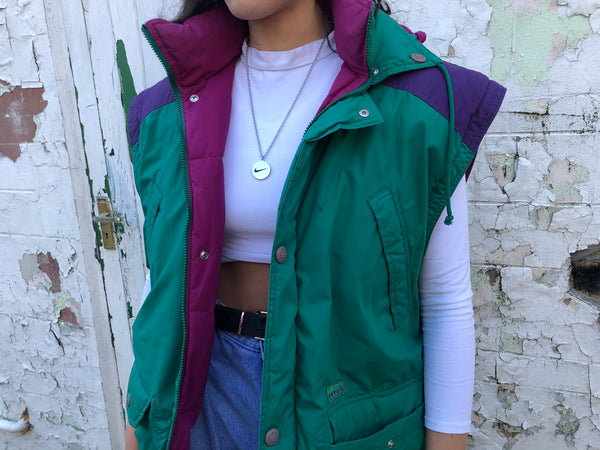 Vintage 90s Diadora Oversized Unisex Padded Gilet Jacket / Body Warmer Green