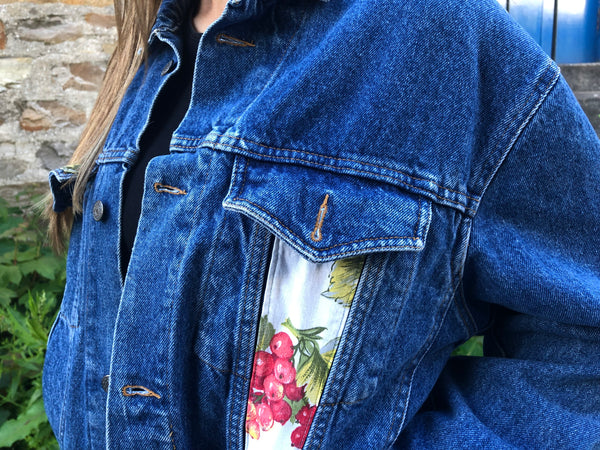 Vintage Embroidered Floral Oversized Denim Jacket Blue
