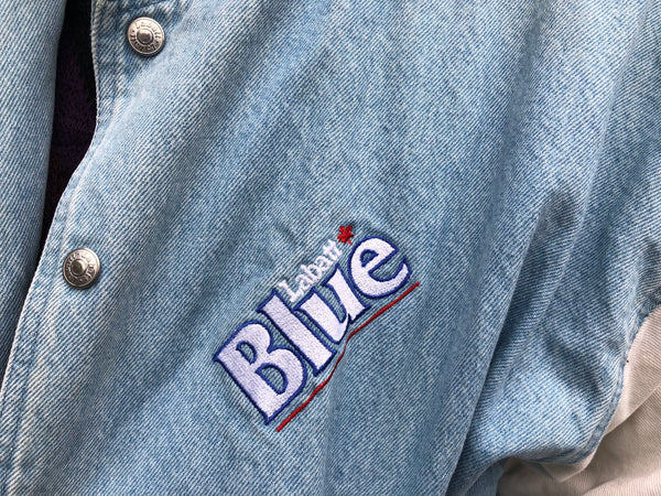 RARE Embroidered Vintage Unisex Oversized Denim Jacket Blue & White