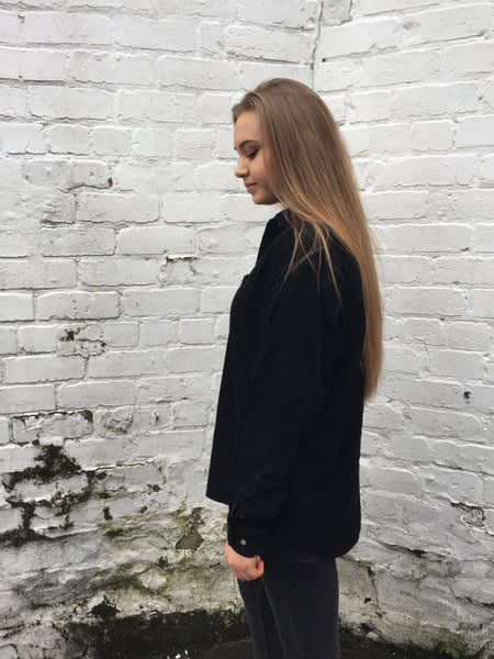 Vintage Black Unisex Oversized Soft Ribbed Cord Shirt