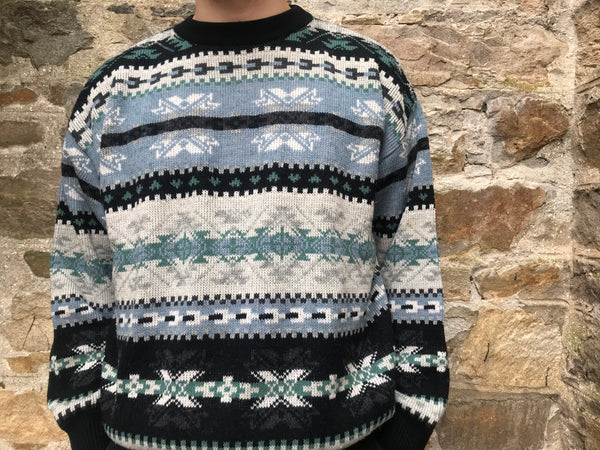 Vintage Patterned Christmas Knitted Grandad Jumper Blue