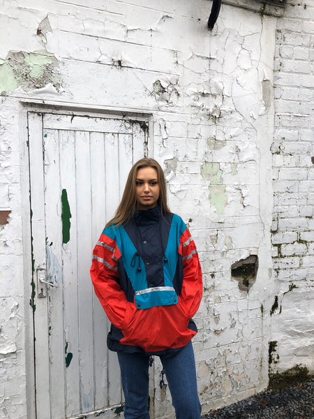 Vintage Half Zip || 1/4 Zip || Quarter Zip Graphic Print Retro Colourful Oversized Windbreaker Festival Shell Jacket / Jumper