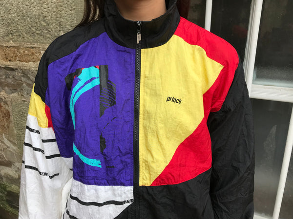 Vintage Unisex Oversized Windbreaker Festival Wavy Colourful Bomber Shell Jacket
