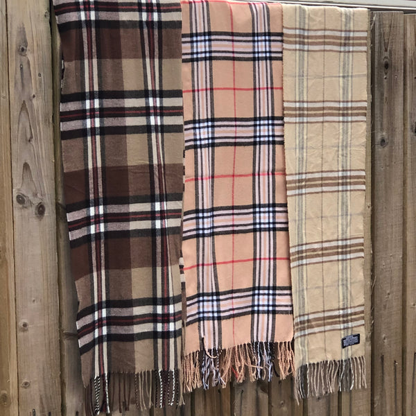 Vintage Printed Checked Tartan Patterned Long Scarf Brown