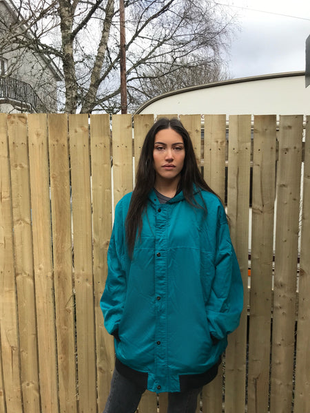Vintage Reebok Embroidered Unisex Oversized Turquoise / Teal Jacket