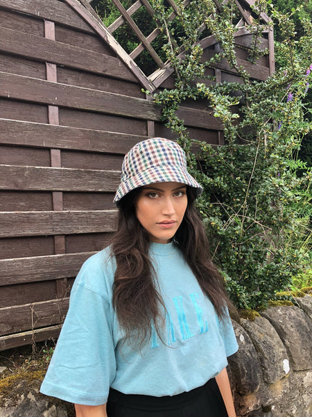 Love Route Unisex Bucket Hat Brown Blue & Green Check