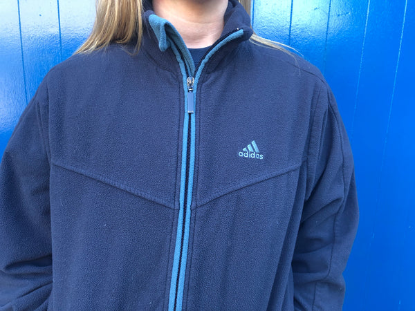 Vintage Adidas Unisex Fleece Jacket Navy