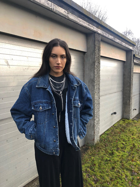 Vintage Fleece Lined Oversized Unisex Dark Blue Denim Jacket