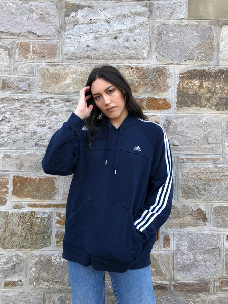 Vintage Adidas 3-Stripes Unisex Hooded Sweatshirt / Jumper / Sweater / Hoodie Navy Blue