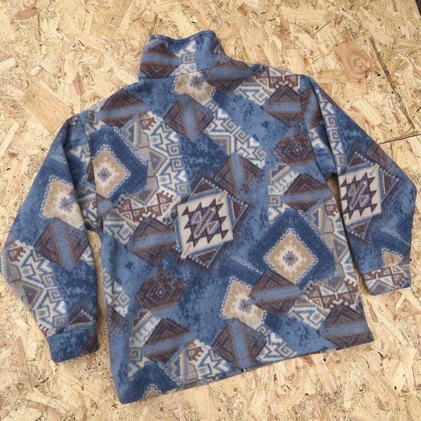 Vintage Unisex Crazy Print Oversized Funky Patterned Zip Up Fleece Jacket Blue & Brown