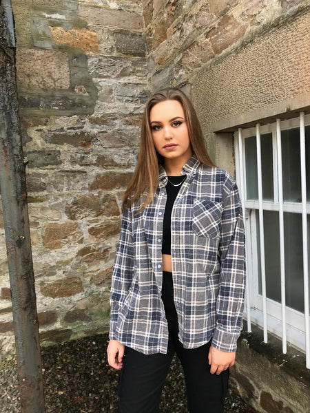 Unisex Vintage Checked Oversized 90's Grey Flannel Shirt